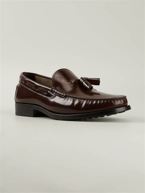 tod loafer tod s tassel loafers in brown for lyst