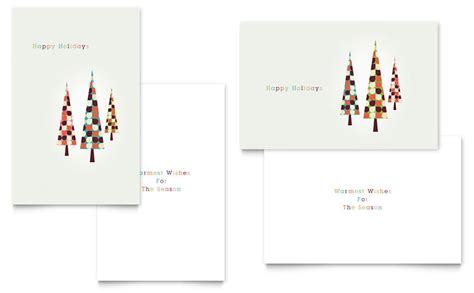 modern holiday trees greeting card template word publisher