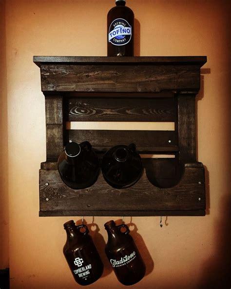 diy pallet shelf  craft beer growlers