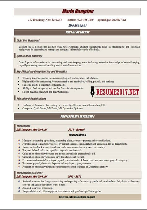 Bookkeeper Resume by Bookkeeper Resume 2017