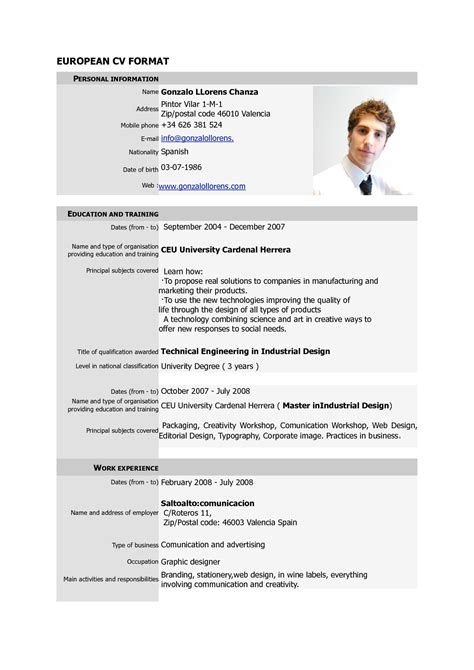 Resume Template Word Tutorial free cv europass pdf europass home european cv