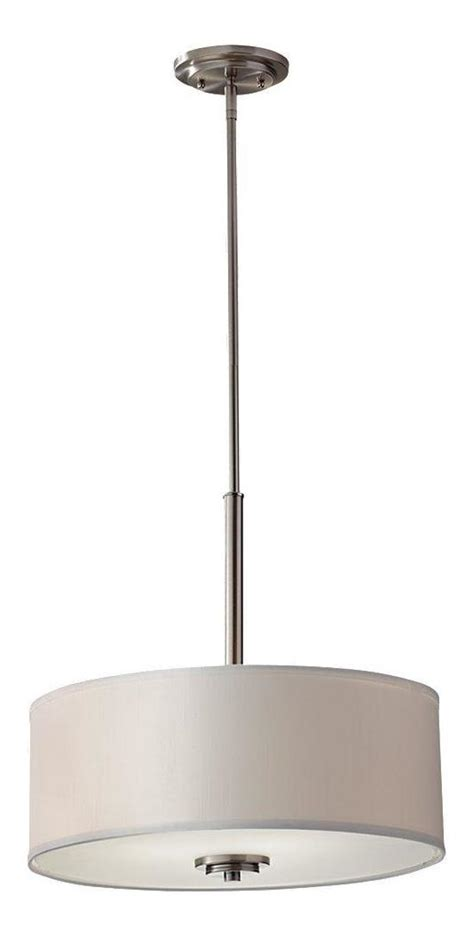 Metal Drum Pendant Light Feiss Three Light Brushed Steel Drum Shade Pendant Brushed Steel F2771 3bs From Collection