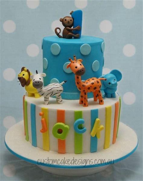 animal two boy and one safari animals 1st birthday cake cake by custom cake