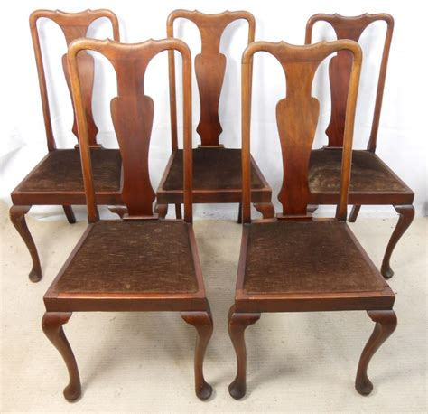 set of five style mahogany highback dining
