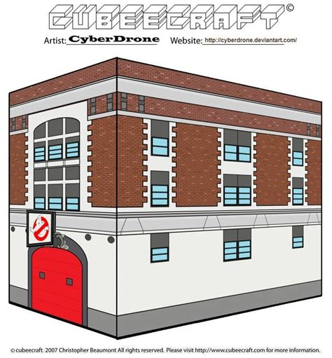 Ghostbusters Papercraft - cubeecraft ghostbusters hq by cyberdrone on deviantart