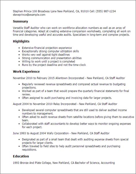 Staff Resume Format Professional Staff Auditor Templates To Showcase Your Talent Myperfectresume