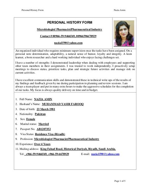 exle curriculum vitae pharmacist nazia amin cv pharmacist 1 jan 2016