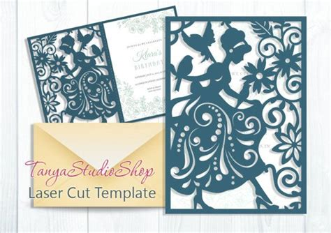 silhouette cameo card templates cinderella card svg dxf ai eps pattern card
