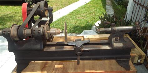 wirh antique cast iron wood lathe benchtop