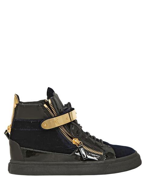 giuseppe sneakers giuseppe zanotti 20mm velvet and patent leather sneakers