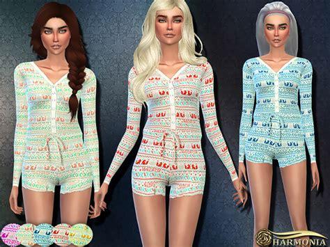 sims 4 pajamas rustic pajama romper by harmonia at tsr 187 sims 4 updates