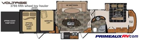 voltage toy hauler floor plans 17 best ideas about fifth wheel toy haulers on pinterest