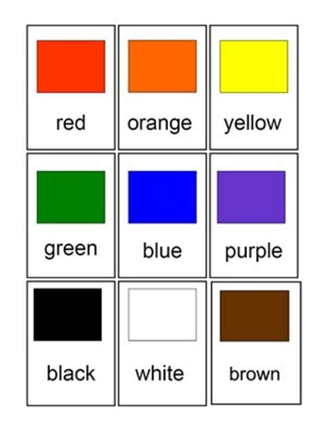 printable flashcards for toddlers colors cards for kids color chips for preschool and primary children