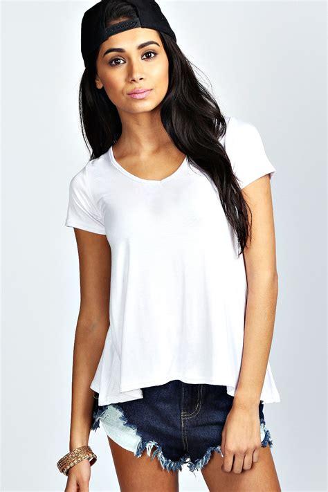 swing tops with sleeves boohoo womens ladies emilie short sleeve waist length v