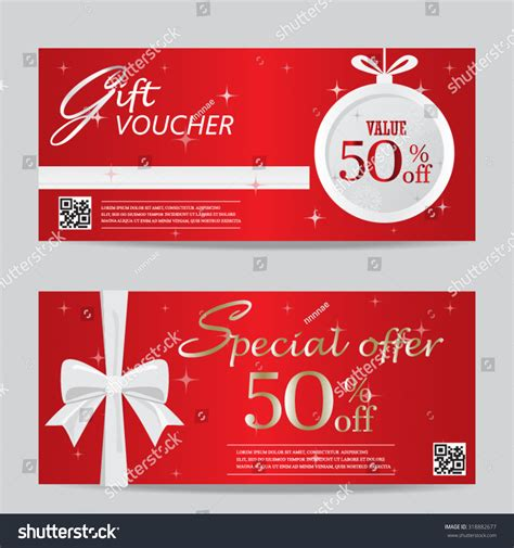 Customer Discount Card Template by New Year Gift Voucher Stock Vector 318882677