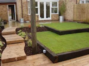 reclaimed railway sleepers 2 level lawn garden design