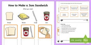 how to make a jam sandwich procedure word and picture matching