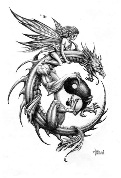 tender fairy riding a dragon keeping a big yin yang symbol