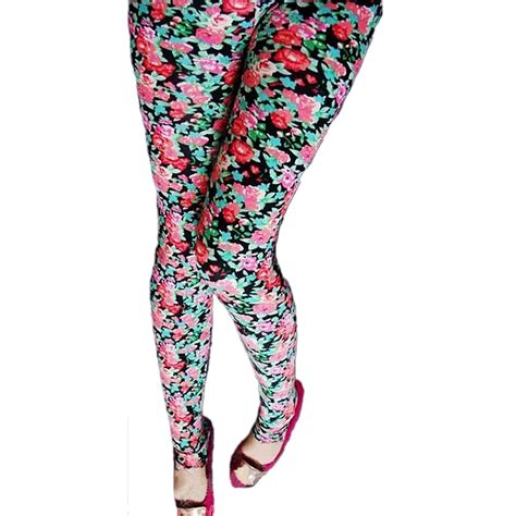 patterned tights leggings m stretch womens winter pants black red floral patterned