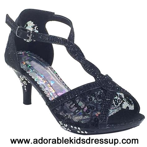 adorable kids dress up kids high heels shoes girls tea black high heel dress shoes fancy pageant heels for kids