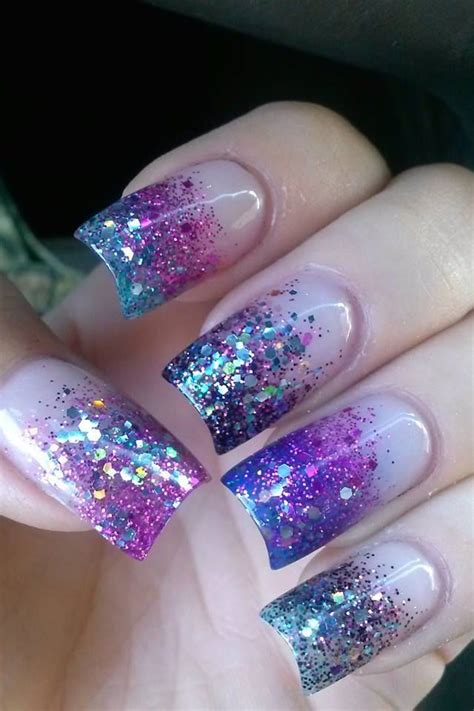 Glittery Purple Nail Art | glitter purple nail art cool nails pinterest