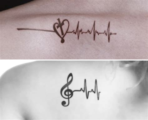 cross and music note tattoo 8 heartbeat designs that are worth trying