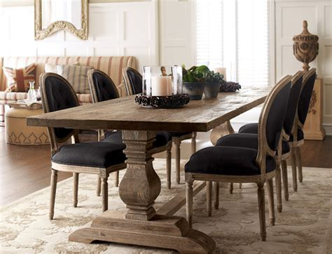 Natural Dining Table & Black Linen Chairs   Traditional   Dining Room   Other   by Horchow