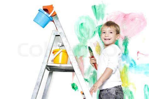 painting boy happy boy painting white stock photo colourbox