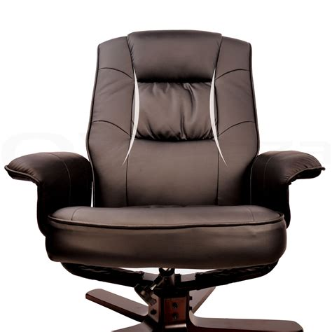 wood arm recliner pu leather wood lounge arm chair recliner ottoman office