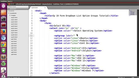 tutorial html list html bassic tutorial ep19 html form dropdown list option