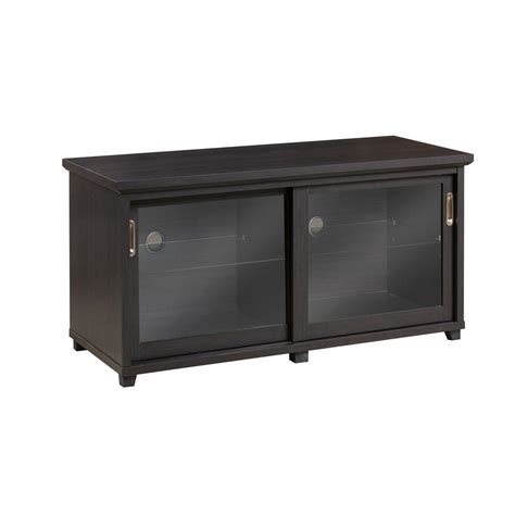 Glass Door Entertainment Center Inspirations By Broyhill 4 Shelf Entertainment Center With Sliding Glass Doors In Espresso