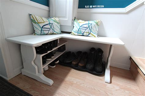 corner bench entryway black and white obsession how to convert a table into a