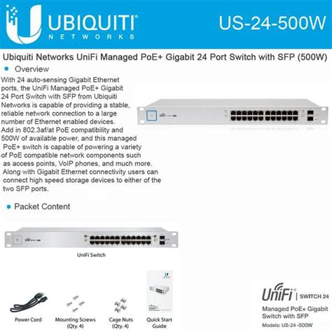 Ubiquity Unifi Switch 24port 500w Us 24 500w ubiquiti unifi switch 24 port 250w jefa tech