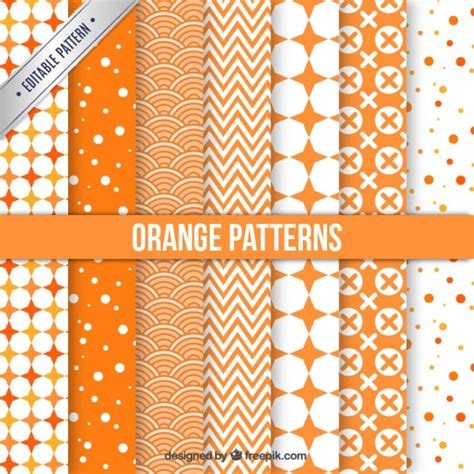 pattern collection download orange patterns collection vector free download