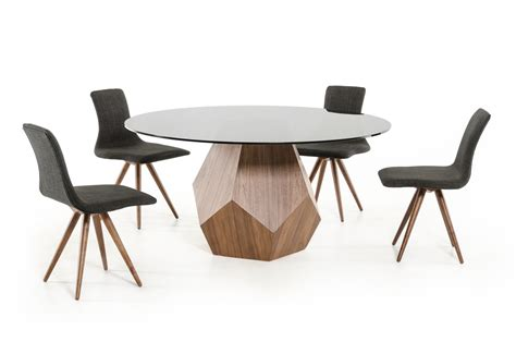 frau modern round dining table modrest rackham modern walnut round dining table