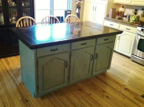 kitchen island finished in duck egg using chalk paint