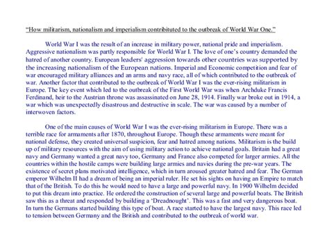 Ww1 Essay Topics by Causes Of Ww1 Essay Militarism Compare And Contrast The Causes Of World War I And World War Ii