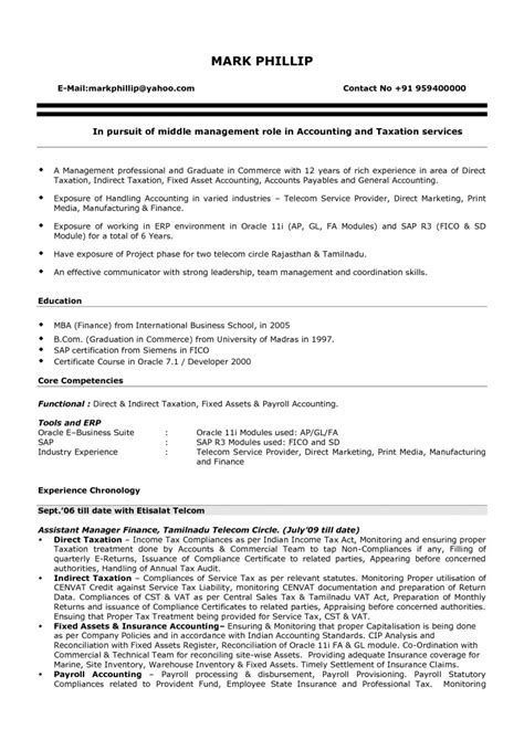 Accounting Resume by Resume Format For Experienced Accountant Resume Cover Letter Exle