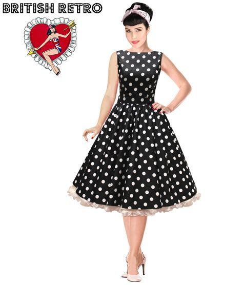 vintage of the 50s rockabilly retro swing black white polka dot dress vintage