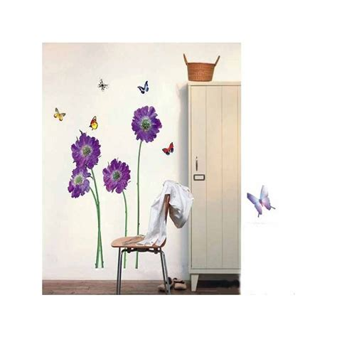 purple home decor purple flower butterfly paster home decor removable wall