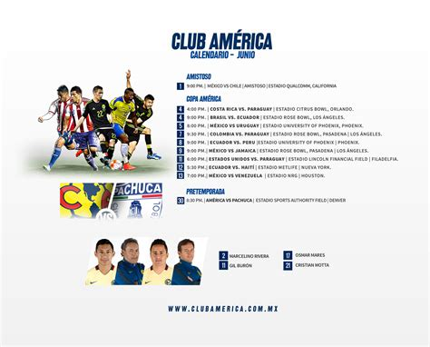 Calendario Club America Calendario Americanista Junio Club Am 233 Rica Sitio Oficial