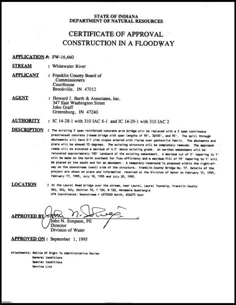quality certification letter dnr related project information