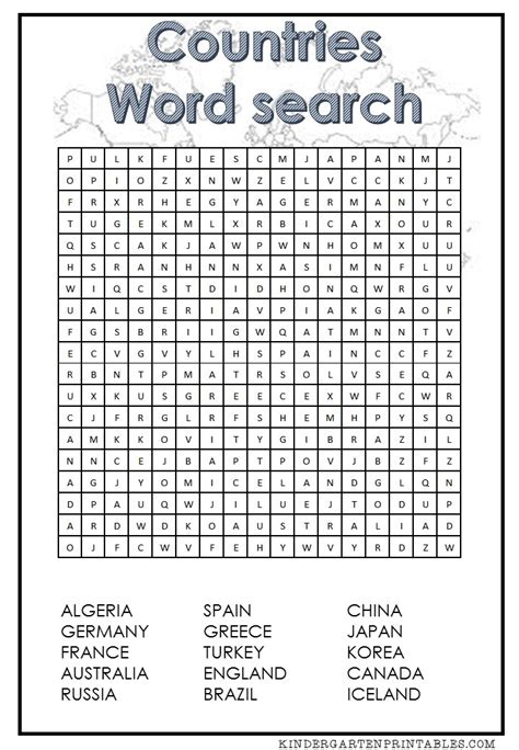 Searching For For Free Countries Word Search Free Printable Word Search Word Search Free