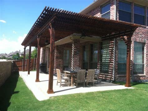 home designer pro lattice stained cedar lattice patio cover extension dallas by