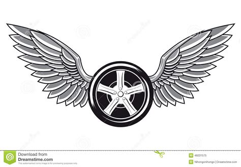wheel tyre with wings stock vector image of automobile