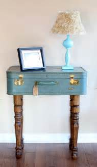 Brown Slipcover Vintage Look Suitcase Nightstand Table Painted With Blue