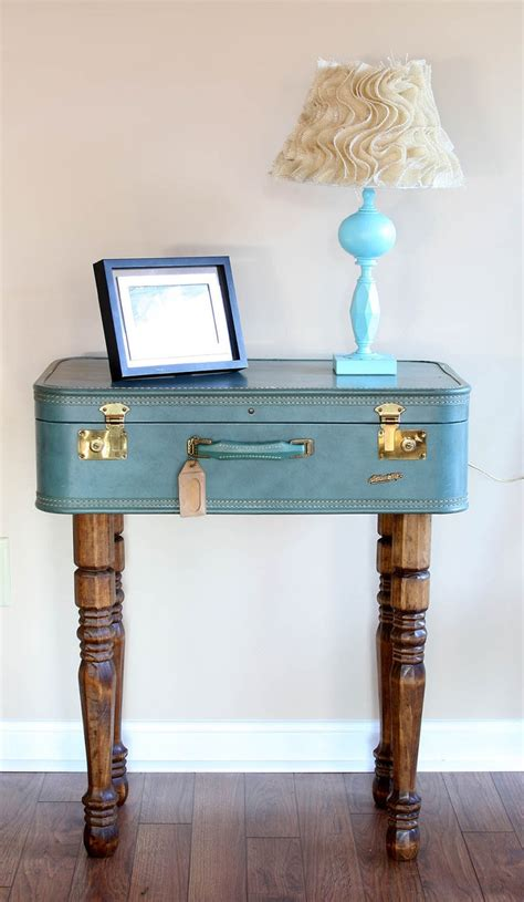 Suitcase Table by Vintage Look Suitcase Nightstand Table Painted With Blue