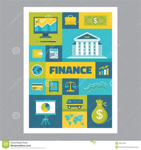 flat design poster vector finance mosaic poster with icons in flat design style