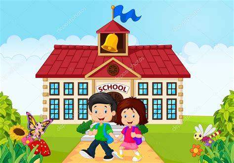 desenhos animados crian 231 as saindo da escola vetor de