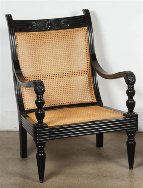 Indian Ottoman Furniture Anglo Indian Ebonized Armchair And Ottoman For Sale At 1stdibs